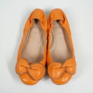 See by Chloé Orange Zipper Bow Ballet Flats 9.5